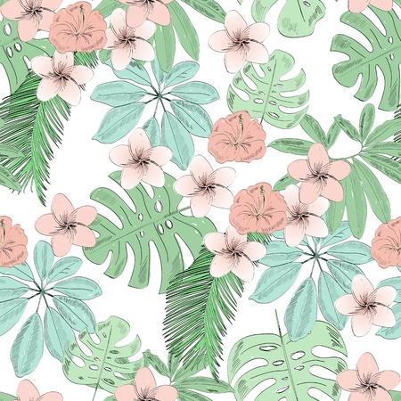 Tropical theme seamless pattern vector illustration Illustration