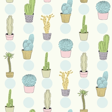 Cactus seamless pattern in pastel colors.