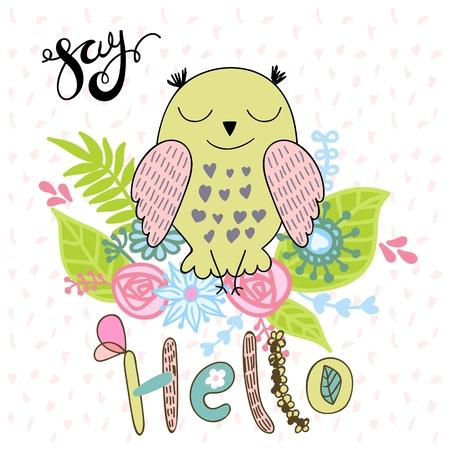 Cute owl with say hello inscription cartoon illustration. Stock Vector - 99193516