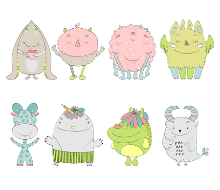 Set of cute monsters icon cartoon illustration.