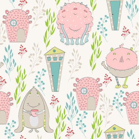 Cute cartoon monsters seamless pattern 向量圖像