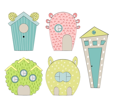 Set of cute cartoon houses icon. Stock Illustratie