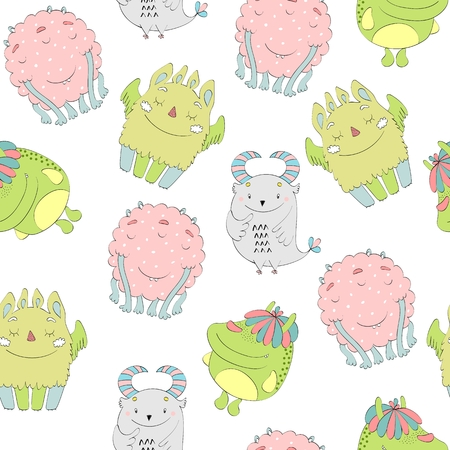 Cute cartoon monsters seamless pattern  イラスト・ベクター素材