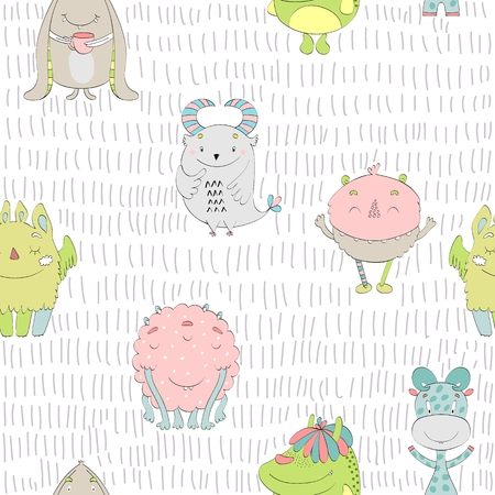 Cute cartoon monsters seamless pattern Ilustração