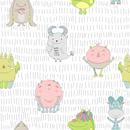 Cute cartoon monsters seamless pattern Vettoriali