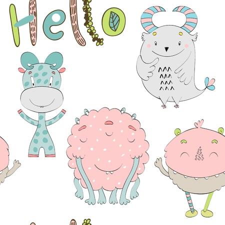 Cute Cartoon Monsters illustration.