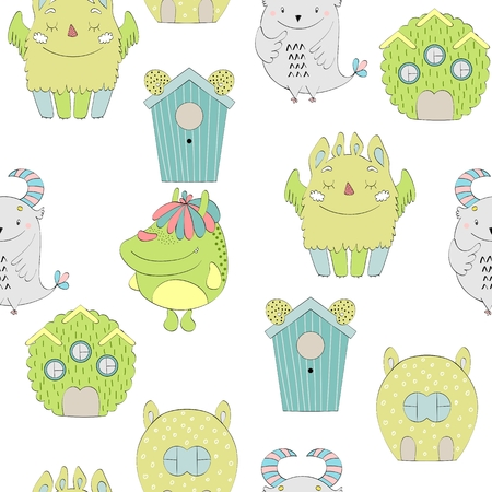 Cute Cartoon Monsters Illustration