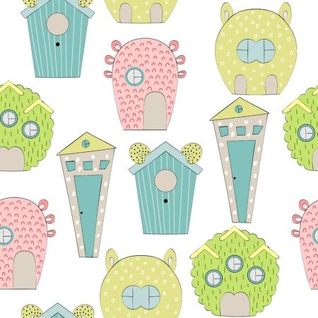 Cute Cartoon houses vector pattern Vettoriali