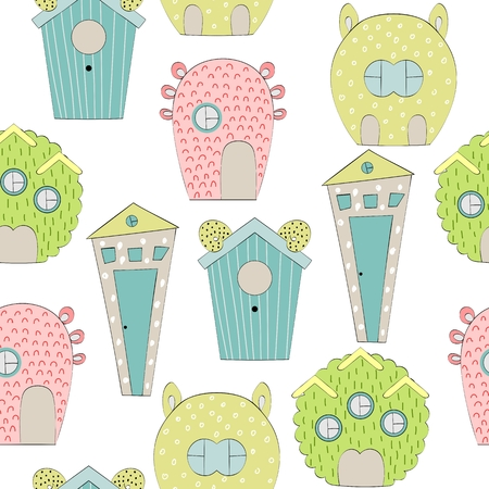 Cute Cartoon houses vector pattern Иллюстрация