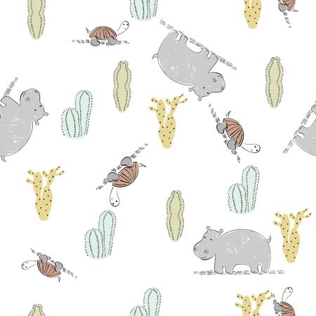 Vector seamless pattern of safari animals.