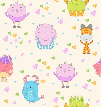 Cute cartoon monsters pattern.