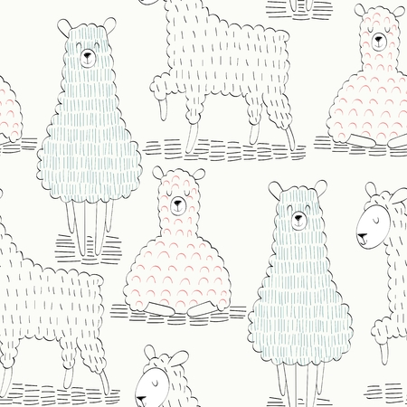 Colorful sheep vector seamless pattern. Illustration