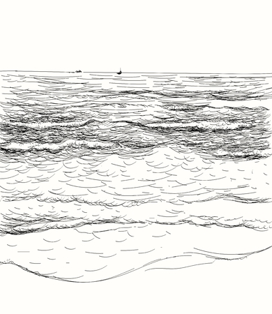 Vector summer seascape sketch. Seaside view and beach Ilustração