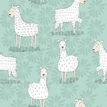 Sheep vector seamless pattern.