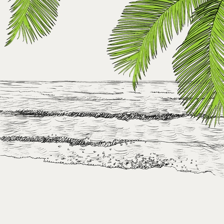Summer seascape sketch 向量圖像