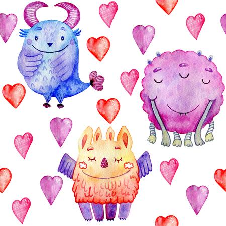 Cute watercolor Monsters 版權商用圖片