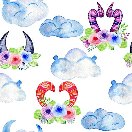 Cute watercolor horns Stok Fotoğraf