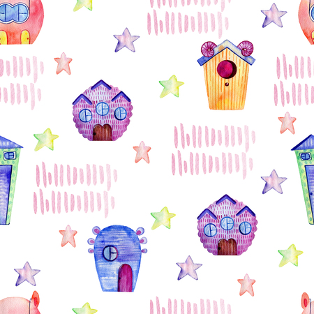 Cute watercolor houses