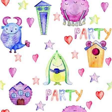Cute watercolor Monsters Stockfoto