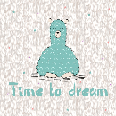 Vector cartoon llama with text time to dream