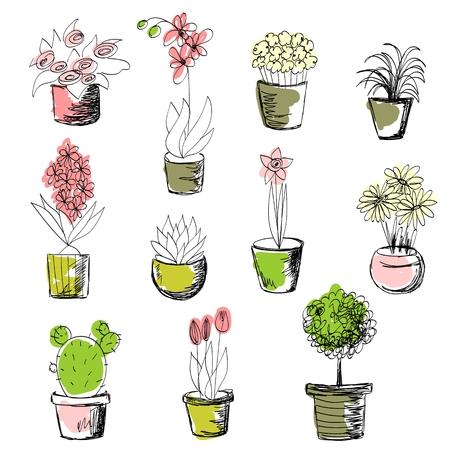 Set of Plants Stock Illustratie