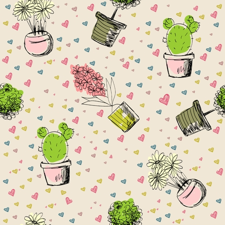 seamless pattern with plants 写真素材 - 102770934