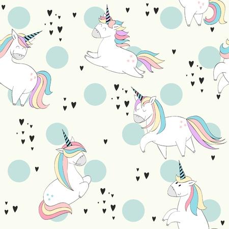 Licornes mignonnes magiques