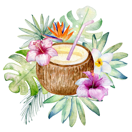 Tropical watercolor illustration Reklamní fotografie - 102823378