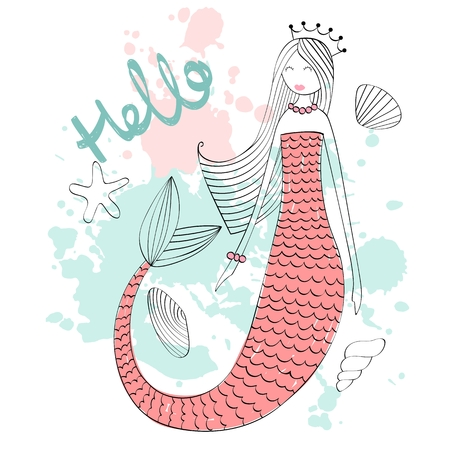 Vector cute mermaid