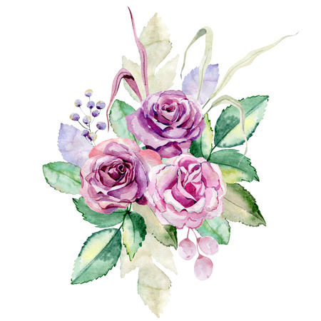 watercolor bouquet of roses on the white background Zdjęcie Seryjne