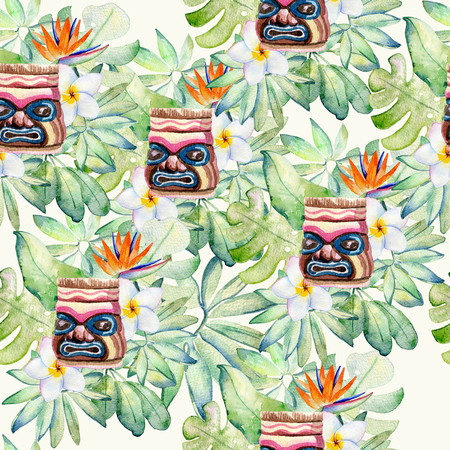 Tropical watercolor illustration Stock Illustration - 105222233