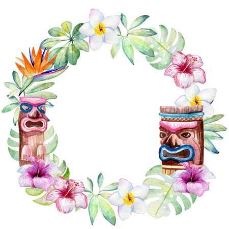 watercolor tropical wreath Stock Photo - 104013457