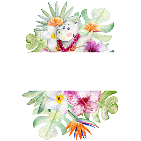 watercolor tropical frame