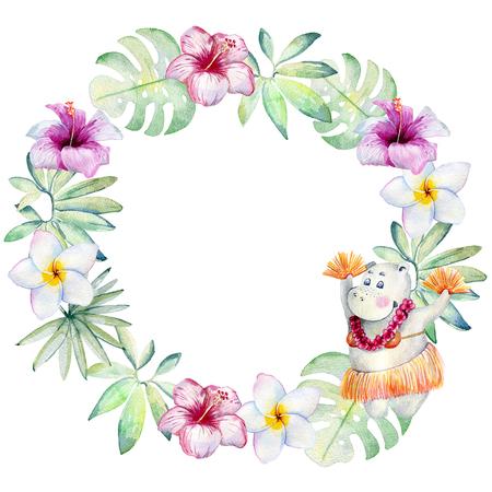 watercolor tropical wreath Stock Photo - 104014407