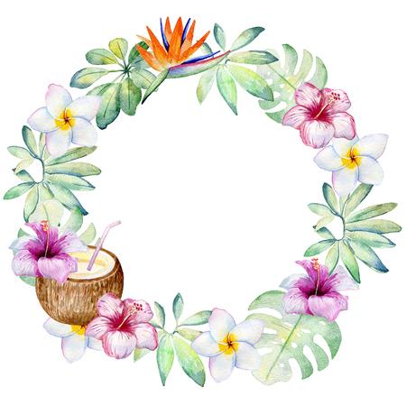 watercolor tropical wreath Stock Photo - 104014408