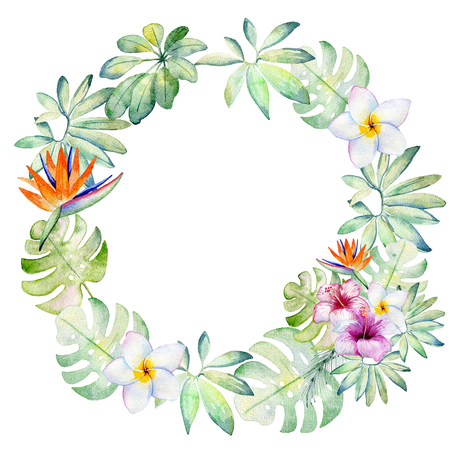 watercolor tropical wreath