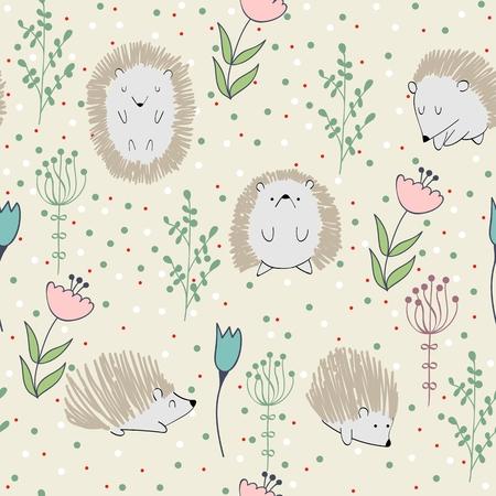 seamless cute hedgehog Imagens - 104014914