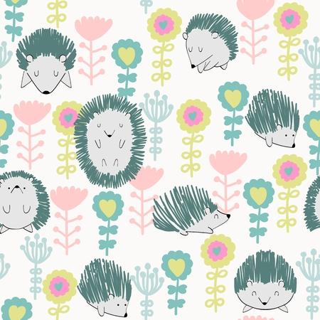 seamless cute hedgehog