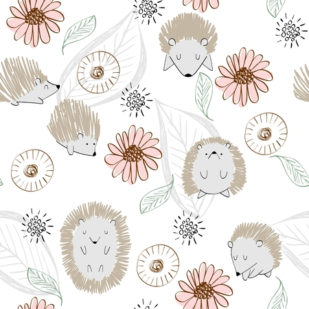seamless cute hedgehog