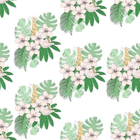 Tropical seamless pattern Çizim