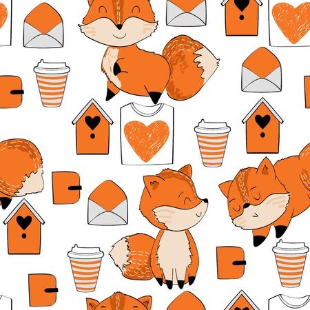Cute cartoon Fox Standard-Bild - 104515883