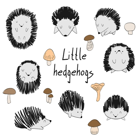 Set of cute hedgehogs and mushrooms on white background. Illustration