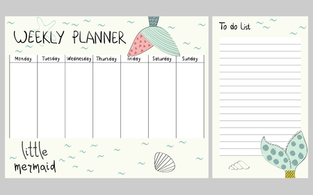 Hand drawing vector weekly planner with mermaids tail. Çizim