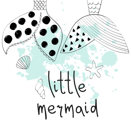 Vector hand drawn illustration with mermaid's tail