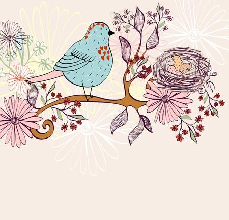 Nido de pájaro en la rama de un árbol. Ilustración vectorial
