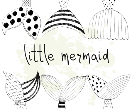 Vector hand drawn illustration with mermaids tail