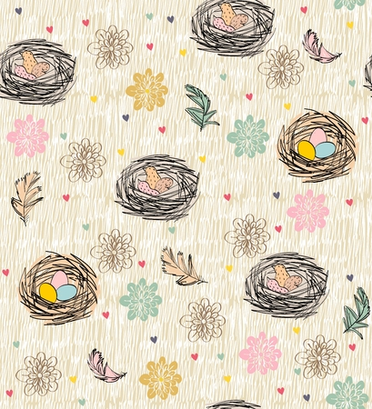 Vector seamless pattern with hand drawn feathers and nests Illusztráció