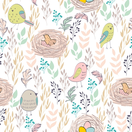 Vector seamless pattern with hand drawn plants and nests Vecteurs