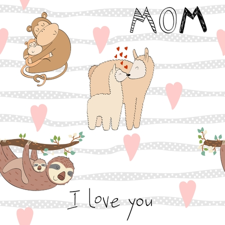 Hand drawn seamless pattern. Vector mom and baby Ilustração