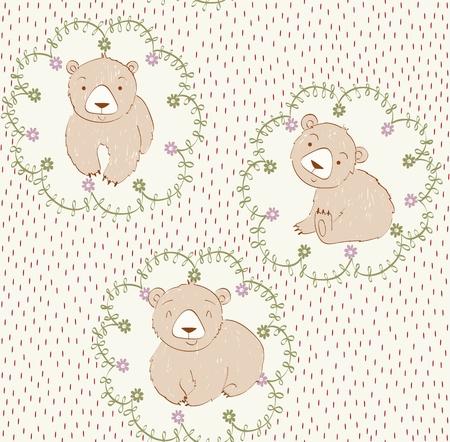 Vector cute seamless pattern with cartoon bears
